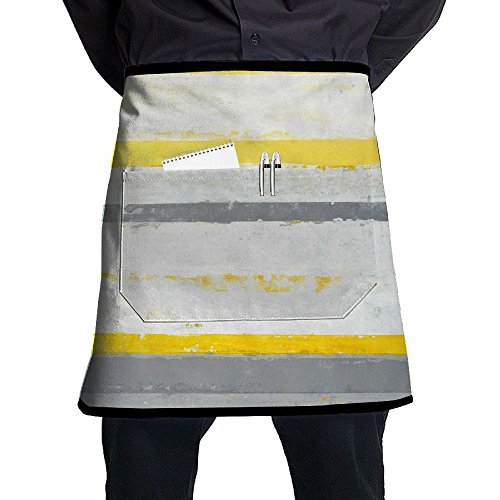(XiHuan Grill Aprons Kitchen Chef Bib Grey And Yellow Abstract Art Painting Professional For BBQ Baking Cooking For Men Women Pockets)