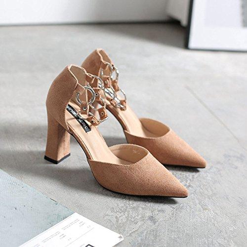 caqui solo hueco una de 35 calzado zapatos zapatos primavera punta ranurado zapatos de los con en metal de grueso satinado sandalias alto mujer de par un tacón con Empate tpFUqA7n