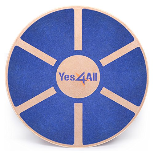 Yes4All Wooden Wobble Balance Board – Exercise Balance Stability Trainer 15.75 inch Diameter - Blue - (Rehab Trainer)
