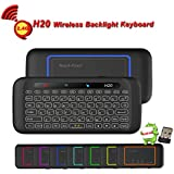 H20 Wireless Mini-Keyboard, Remote Control, Yongf Two-Sided Touch Backlit H20 Keyboard with Infrared Learning, 2.4GHz Remote & Mouse Gaming Keyboard for Android TV Box, PC, Media Player