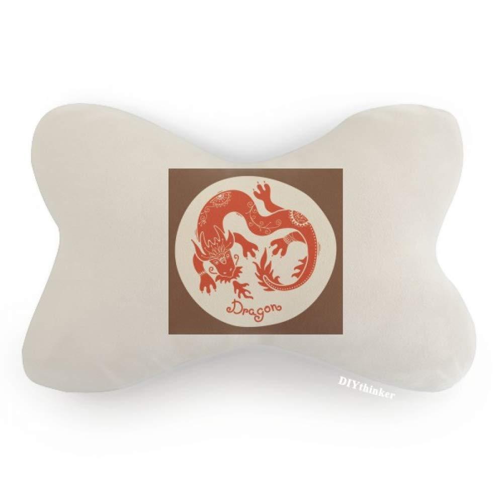 DIYthinker Year of Dragon Animal China Zodiac Red Car Neck Pillow Headrest Support Cushion Pad