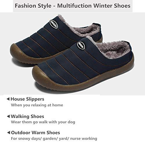 Snow Waterproof Lined Dark Indoor Warm Fur Slippers Winter YOOEEN Outdoor Mens House Blue 1 Slippers Womens Shoes xXR0qRP4
