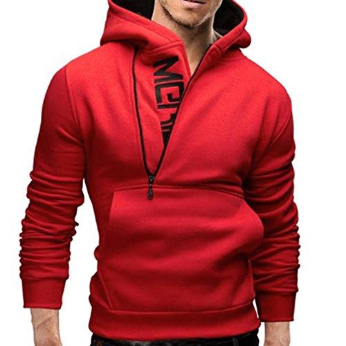 Sinzelimin Men's Motorcycle Long Sleeve Hoodie Outdoor Hooded Sweatshirt Tops Zip up Jacket Coat Outwear (Red, XXXL)