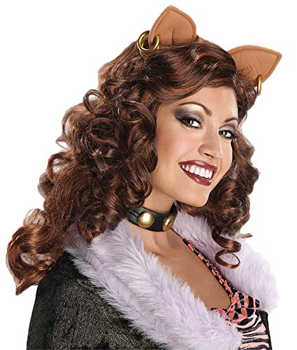 [UHC Monster High Clawdeen Wolf Brown Curly Wig Halloween Adult Costume Accessory] (Clawdeen Wolf Costumes With Wig)