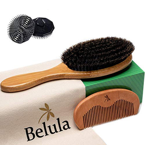 Premium Boar Bristle Hair Brush for Men Set. 100% Boar Bristle Brush and Wooden Comb for Men. Free 2 x Palm Brush & Travel Bag Included. Hairbrush for Thin, Normal and Short Hair