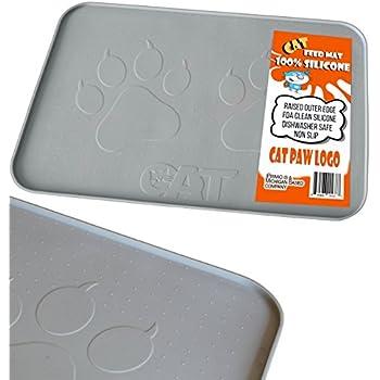 iprimio large cat feeding mat with paw logo premium fda silicone gray 22 x 14. Black Bedroom Furniture Sets. Home Design Ideas
