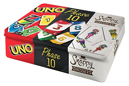 Mattel Games FFK01 - Kartenspiele Spielesammlung in Metalldose mit UNO, Phase 10, Snappy Dressers, Gesellschaftsspiele ab 7 Jahren 1