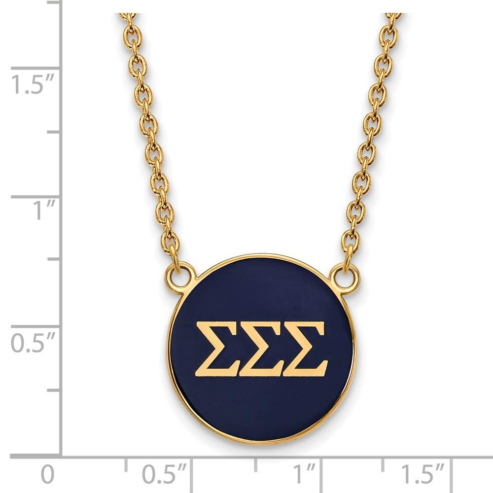 Roy Rose Jewelry Sterling Silver with 14K Yellow Gold-plated LogoArt Sigma Sigma Sigma Small Enameled Pendant Necklace