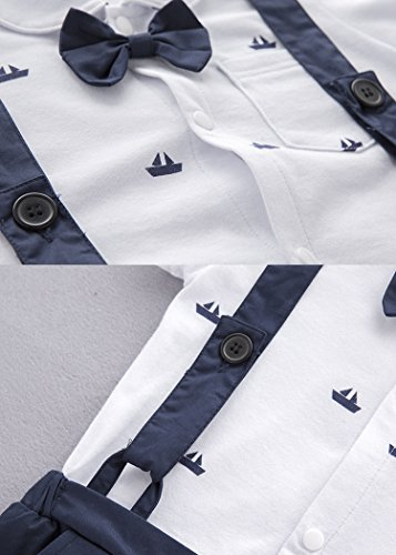 AvaCostume Baby Boy Blue Boat Pattern Short Overalls Jumpsuit