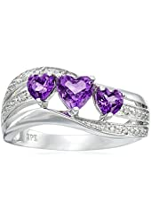 10k White Gold Amethyst and Diamond Accent Triple Heart Wave Ring
