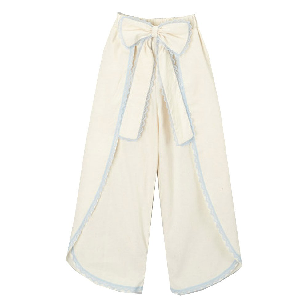 Little Girls Ivory Blue Scalloped Trim Bow Accent Wide Leg Pants 6