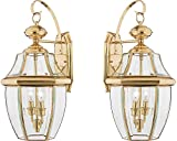 Quoizel NY8317Z 2-Light Newbury Outdoor Lantern in Medici Bronze (Large - 2 Pack, Polished Brass)