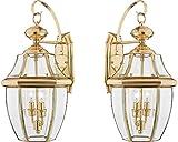 Quoizel NY8317Z 2-Light Newbury Outdoor Lantern in Medici Bronze (Large - 2 Pack, Polished Brass)