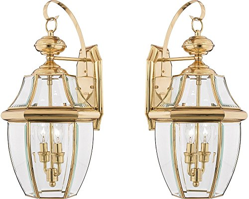 Quoizel NY8317Z 2-Light Newbury Outdoor Lantern in Medici Bronze (Large - 2 Pack, Polished Brass) by Quoizel