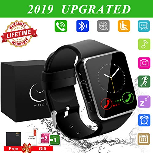 Smart Watch,Smartwatch for Android Phones, Smart Watches Touchscreen with Camera Bluetooth Watch Phone with SIM Card Slot Watch Cell Phone Compatible Android Samsung iOS Phone XS X8 7 6 5 Men Women (Best Smartwatch Under 100)