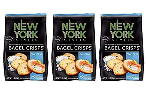 New York Style Bagel Crisps, Sea Salt, 7.2 Ounce (Pack of 3)