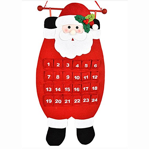 KingWoChristmas Old Man Snow Man Deer Calendar Advent Countdown Calendar (Red) (Countdown Banner Calendar Christmas)