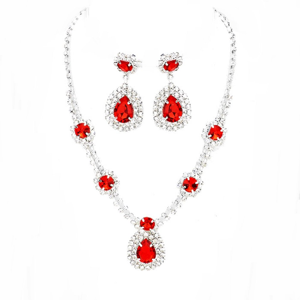 Women's Affordable Wedding Jewelry Teardrop Crystal Chandelier Earrings Necklace Set Evening Prom Gift (Red)