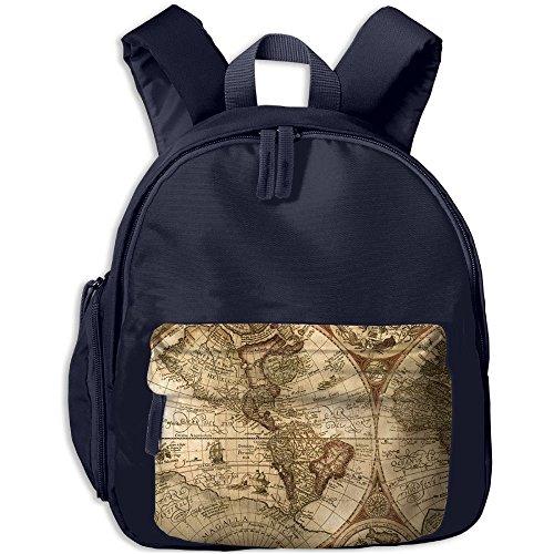 Children World Map Pre School Shoulder School Bag Navy by Fashion Theme Tshirt
