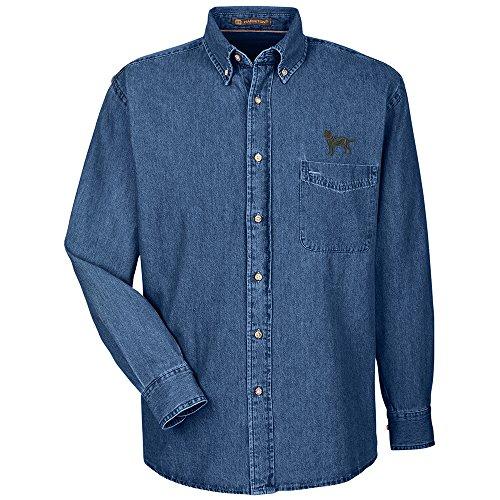 YourBreed Clothing Company Labrador Black Embroidered Men's 100% Cotton Denim Shirt - Labrador Denim Shirt