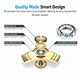 Gold Fidget Spinner toy, Solid Metal Brass Tri Spinner with stainless Steel Bearings which helps to increase focus, relieves stress, anxiety, and boredom. Fidget Spinner + Metal Carrying Case