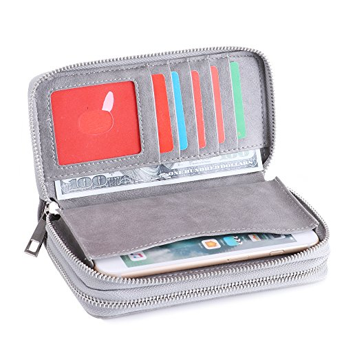 LOEL Womens Double Zipper Around Clutch Wallet Card Holder Purse with Coin Pocket and Handle