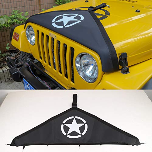 Hgcar Black Canvas Car Engine Hood Cover,Front Hood Cover Bra Protector Cover for Jeep Wrangler TJ 1997-2006(Star)