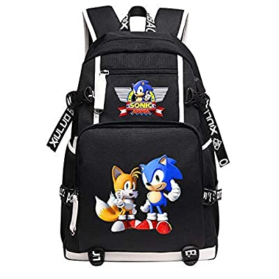 Qushy Sonic Adult Backpack School Bag Black Large Capacity Bookbag Daypack (C) | Kids' Backpacks