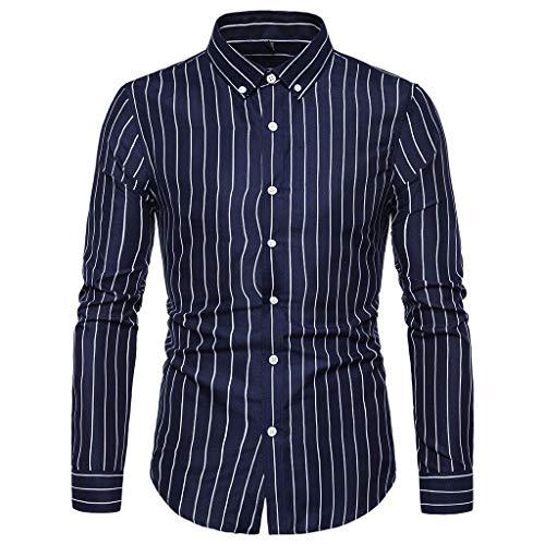 - Men's Button Printed Tops Long Sleeve Plaid Slim Fit Button Down Dress Shirt Top Lightweight Undershirts Tee Navy