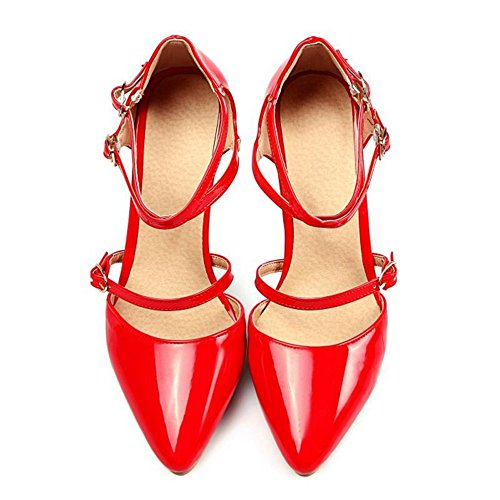 Cross Red Plus Heel Straps Toe Court Elegant Shoes Women Women Thin Size Pointed SJJH Sandals with and FxCqP55wa