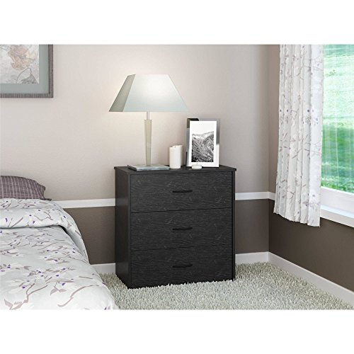 Modern Lines Modern Dresser - Modern, Functional and Stylish 3 Drawer Dresser, Classic Finish and Refined Lines, Decorative Handles, Durable Laminated Particleboard and Sturdy Wood Construction + Expert Guide (Black Oak)