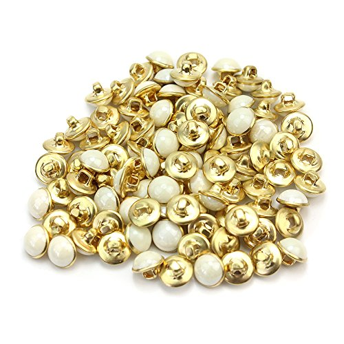 Domed Bead Caps (Refaxi® 1 Bag Of Exquisite White Imitation Pearl Half Round Plastic Buttons Fit Sewing Dia 10mm)