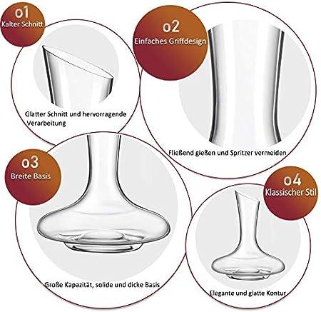 ADMY - Decantador de vino (1,8 L, cristal sin plomo, decantador, vertedor de vino con servilleta para la boca, sacacorchos, botella decantadora como regalo para bodas, cumpleaños, amantes del vino)