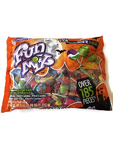 Fun Mix! Lollipops-Hard Candies-Filled Candies-Bubble Gum Pops-Chewy Candies! Over 185 Pieces! One Bag 2.68 lb! by Candy Mix