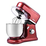 : Betitay Stand Mixer 120V-60Hz/1400W, 4.0 QT Bowl, Two Bowl Options, 304 Stainless Steel Bowl and Glass Bowl with Mixing Beater, Egg Whisk, Dough Hook, and Silicone Brush (Red/Steel)