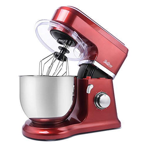 Betitay Stand Mixer 120V-60Hz/1400W, 4.0 QT Bowl, 304 Stainless Steel Bowl with Mixing Beater, Egg Whisk, Dough Hook, and Silicone Brush (Red/Steel)