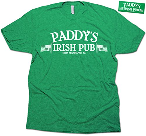 Daft Threads Paddy's Irish Pub St. Patrick's Day T-Shirt Always Sunny & Sticker Retro Green (X-Large) (Sunnies Retro)
