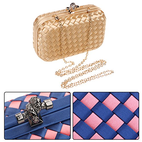 Wedding Evening Bags Purse Dress Womens Wallet Woven Bags Elegant Shoulder Gold Chain Ladies Clutch wSzPqHFv