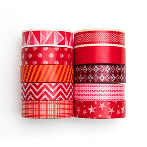 UNIQOOO Adhesive Washi Tape Masking Tape Set of 10 Rolls, Red Geometry Holiday Collection,32 Ft Each-Perfect for Crafting DIY, Gift Wrapping, Scrapbook, Bullet Journal Planner Christmas - Collection Brillo