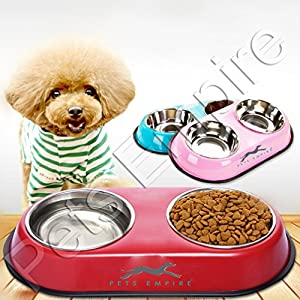 Pets Empire Stainless Steel Double Diner Dog and Cat Food Bowls with Anti Slip Mat (Colour May Vary, 2×200 ml)