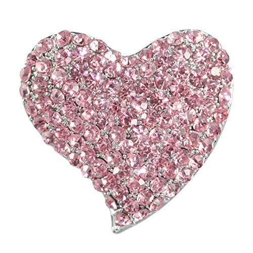 Gyn&Joy Silvery Tone Austrian Crystal Love Valentine Heart Brooch Pin BZ264 (Pink) ()