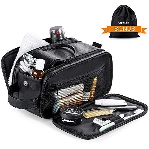 Lizzton Toiletry Bag for Men Large Travel Shaving Dopp Kit Waterproof Bathroom Toiletries Organizer PU Leather Cosmetic Bags