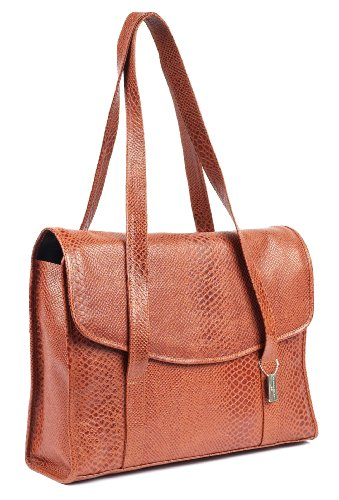Claire Chase Belize Computer Handbag, Brown Croc, One Size