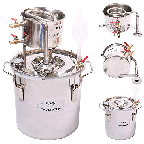 WMN_TRULYSTEP DIY Home Distiller Moonshine Still Stainless Boiler Thermometer Wine Spirits Essential Oil Water Brewing Kit (Stainless Steel, 12 Litres / 3 Gallon)