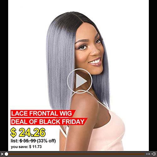 Gabrielle 14 Inch 1B/Gray Straight Hair Lace Frontal Wig Ombre Gray 2 Tones Synthetic Dark Roots Natural Straight Replacement Hair Wigs For Women Heat Resistant Fiber Hair