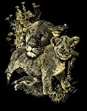 Reeves Scraperfoil Lioness and Cubs (Gold)