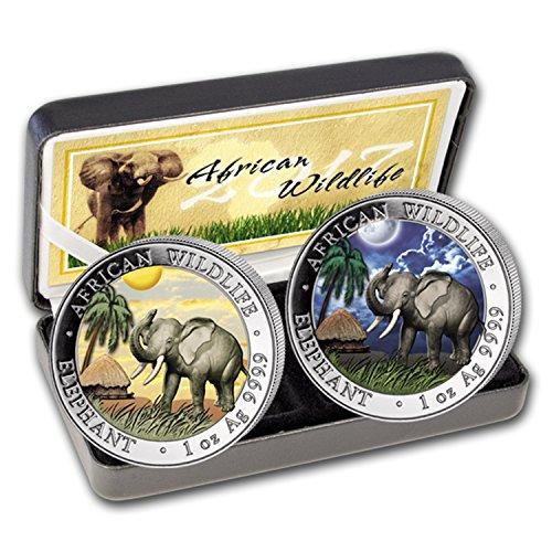 DE 2017 Somalia 2-Coin 1 oz Silver Elephant Set Day/Night (Colored) Brilliant Uncirculated (Elephant Coin Set)