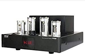 Bluetooth Tube Amplifier Stereo Receiver - 500W Home Theater Audio Desktop Stereo Vacuum Tube Hi-Fi Power Amplifier Receiver w/ 4 Vacuum Tubes, USB Reader, CD/DVD Input, Subwoofer Output - Pyle PVTA80