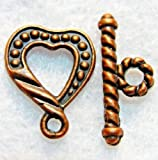 10Sets Antique Copper HEART Toggle Clasps Connectors Hooks Findings C025 DIY Crafting Key Chain Bracelet Necklace Îewelry Accessories Pendants