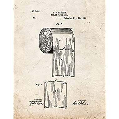Toilet Paper Roll Patent Print Art Poster Old Look (8.5  x 11 )